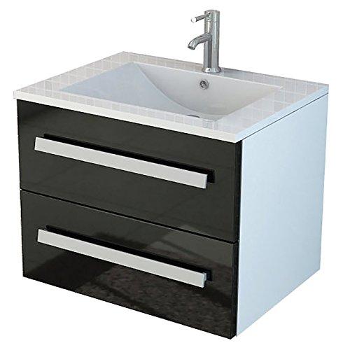 badset waschtisch 39 arosa ii 39 inkl soft close schwarz waschbecken badm bel hjochglanz soft. Black Bedroom Furniture Sets. Home Design Ideas