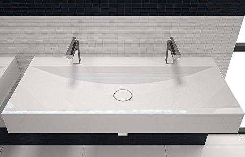 design doppel waschbecken mit ablaufabdeckung 100cm zur wandmontage oder als aufsatzwaschbecken. Black Bedroom Furniture Sets. Home Design Ideas