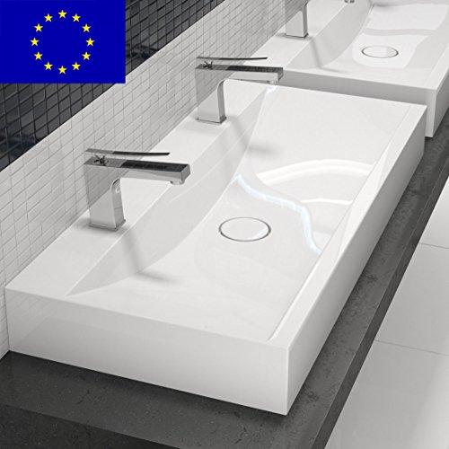 design doppel waschbecken mit ablaufabdeckung 100cm zur wandmontage oder als. Black Bedroom Furniture Sets. Home Design Ideas
