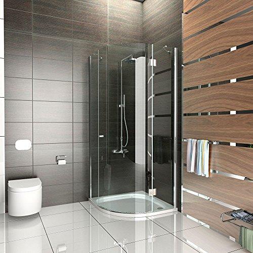 duschkabine viertelkreis rahmenlos aus esg sicherheitsglas dusche komplett 80x80x200 cm. Black Bedroom Furniture Sets. Home Design Ideas