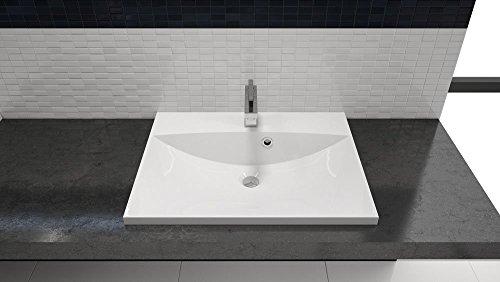einbau waschbecken 60x46cm eckig 60cm einbau waschtisch zum einlassen in eine platte. Black Bedroom Furniture Sets. Home Design Ideas