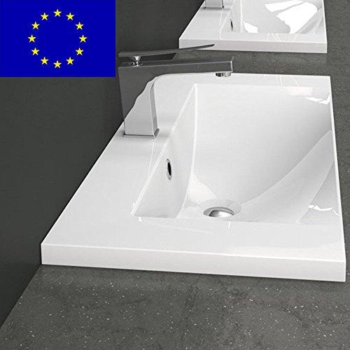 Einbau Waschbecken 80x35x14 1cm Eckig 80cm Einbau Waschtisch Zum