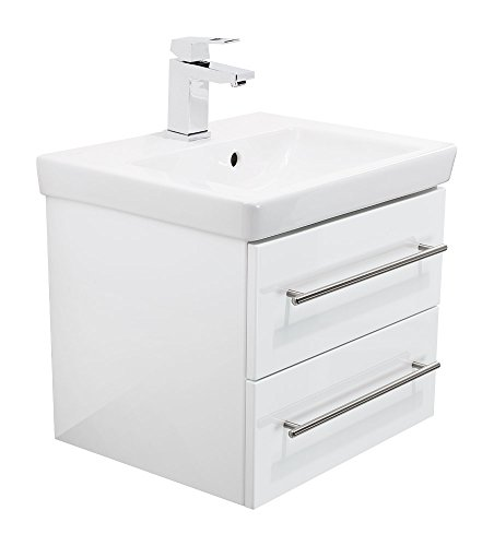 Waschbecken mit Unterschrank | Holz- hochglanz Waschbecken mit Unterschrank  | weißer Waschbecken mit Unterschrank