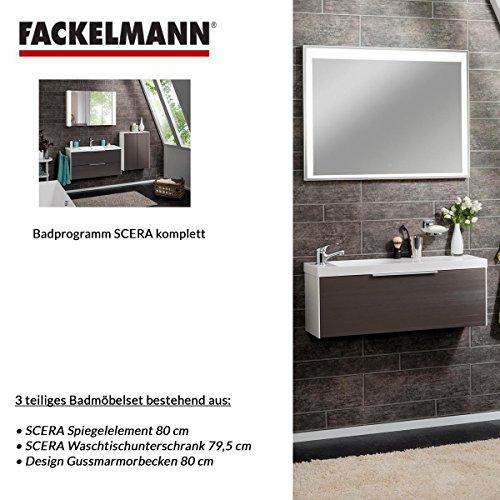Fackelmann Badmöbel Set Scera 3-tlg. 80 cm weiß grau mit Waschtisch  Unterschrank & Gussmarmorbecken & LED Spiegelelement