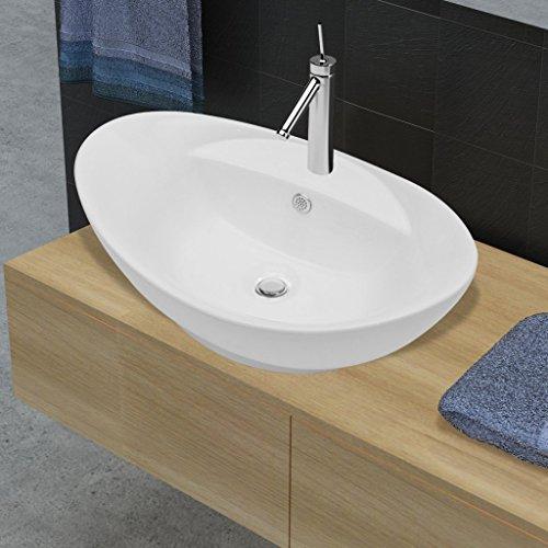 Festnight Luxuriöses Oval Keramik Waschtisch Badezimmer Becken ...