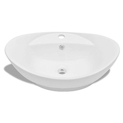 Gut bekannt Festnight Luxuriöses Oval Keramik Waschtisch Badezimmer Becken XB09