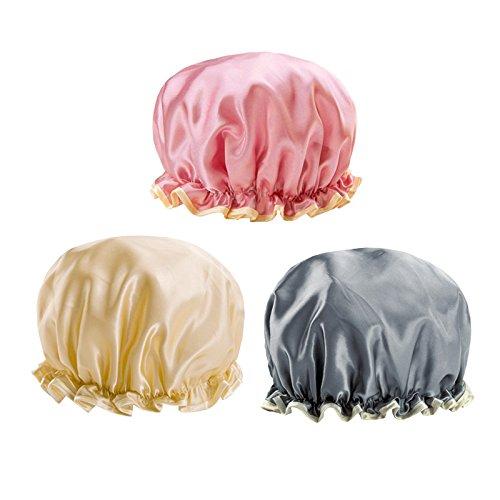 G2plus 3 st ck duschhaube elastisch wasserdichte bedruckte badekappe mit 3 muster champagner - Wandfarbe champagner muster ...