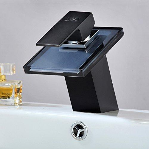 Waschtischarmatur Schwarz glas wasserfall waschtischarmatur schwarz bad wasserhahn armatur