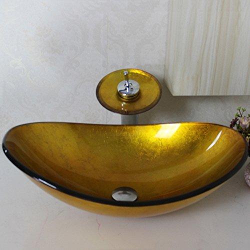 homelavafans modern gold oval geh rtetes glas waschbecken mit wasserfall armatur set. Black Bedroom Furniture Sets. Home Design Ideas