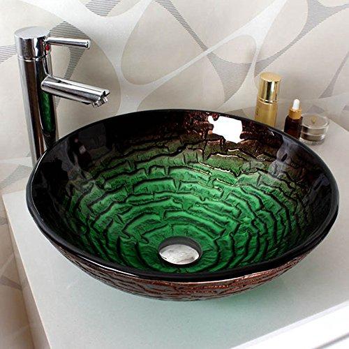 Homelavafans modern rund gr n geh rtetes glas waschbecken for Waschbecken ablaufgarnitur
