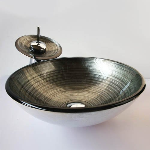 Waschbecken rund glas  Homelavafans Modern Waschbecken Rund Glas Aufsatz Waschschale mit ...