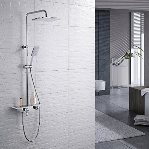 homelody 3 funktion regal duschsystem mit thermostat duschset mit rainshower duscharmatur. Black Bedroom Furniture Sets. Home Design Ideas