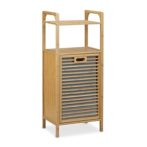 relaxdays badregal mit w schekorb aus bambus hbt 95 x 40 x 30 cm badschrank mit 2 ablagen f r. Black Bedroom Furniture Sets. Home Design Ideas