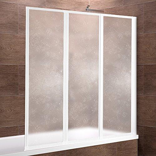 Duschwand für Badewanne | Badewannenfaltwand 127x140 cm | 3 -teilige Duschabtrennung