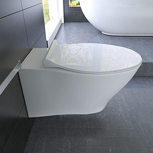 sp lrandloses h nge wc keramik toilette ohne sp lrand inkl duroplast wc sitz mit soft close. Black Bedroom Furniture Sets. Home Design Ideas