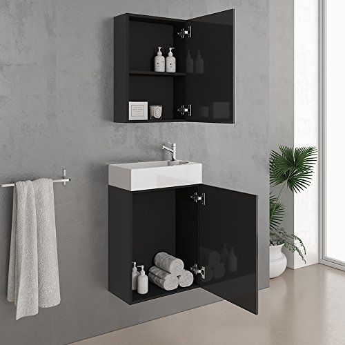 vicco waschplatz 45 cm schwarz hochglanz badm bel set unterschrank waschbecken. Black Bedroom Furniture Sets. Home Design Ideas
