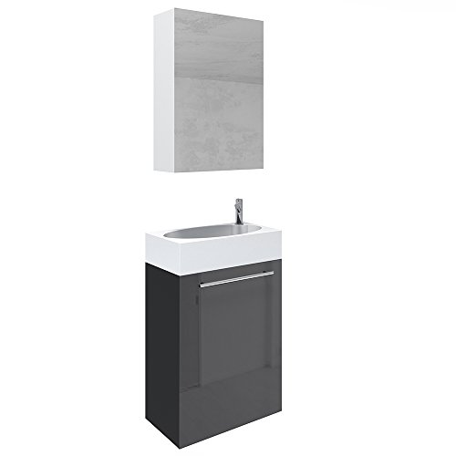vicco waschplatz 45 cm schwarz hochglanz badm bel set unterschrank waschbecken. Black Bedroom Furniture Sets. Home Design Ideas