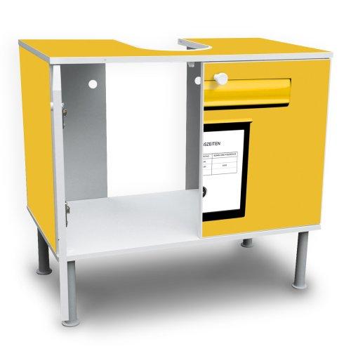 waschbeckenschrank unterschrank badschrank badm bel waschtisch mit motiv briefkasten gelb. Black Bedroom Furniture Sets. Home Design Ideas