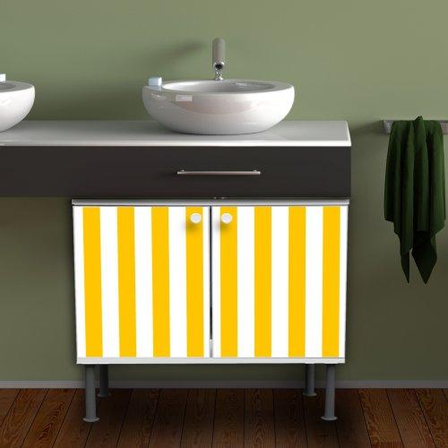waschbeckenschrank unterschrank badschrank badm bel waschtisch mit motiv streifen gelb. Black Bedroom Furniture Sets. Home Design Ideas