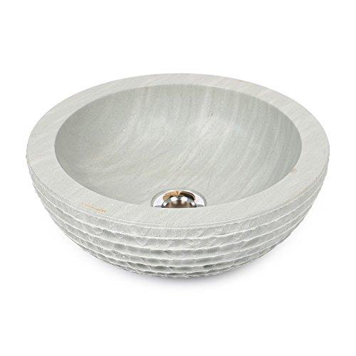 wohnfreuden sandstein aufsatz waschbecken 30x12 cm gr n rund geh mmert bad g ste wc. Black Bedroom Furniture Sets. Home Design Ideas