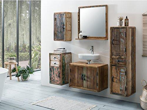 Woodkings® Bad Unterschrank Kalkutta recyceltes Holz bunt rustikal Hängebad  Echtholz massiv Badmöbel Badezimmerunterschrank Badschrank