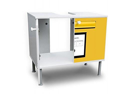 banjado badunterschrank 60x55x35cm design waschbeckenunterschrank mit motiv briefkasten gelb. Black Bedroom Furniture Sets. Home Design Ideas