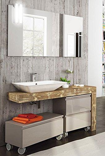 Dafnedesign com badm bel top in holz waschbecken a vista und t ren und schubladen grau mit - Spiegel mit rollen ...