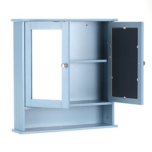 iKayaa Spiegelschrank Badhängeschrank mit 2 Spiegeltür 56x13x58cm ...
