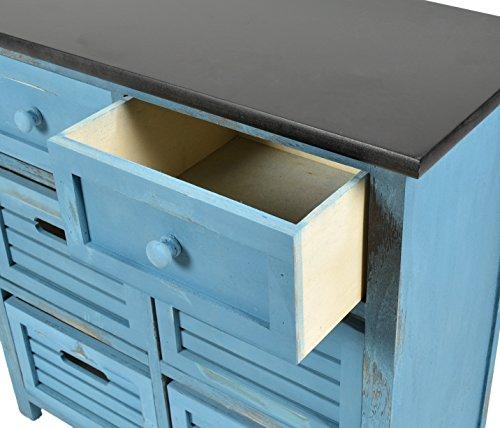 Ts Ideen Landhaus Kommode Flur Bad Schrank Shabby Used Optik In Blau