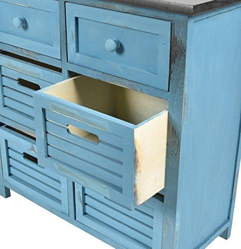 ts ideen landhaus kommode flur bad schrank shabby used optik in blau schwarz mit 6 schubladen. Black Bedroom Furniture Sets. Home Design Ideas