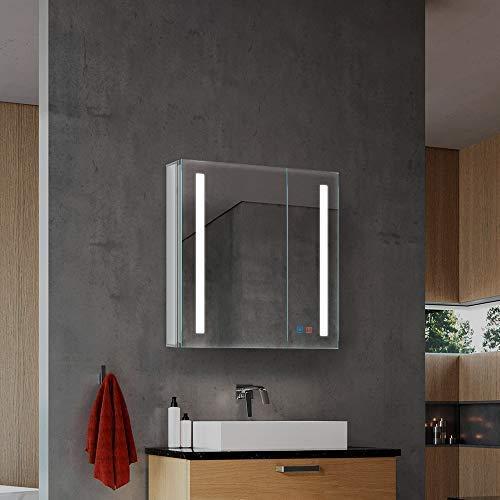 Quavikey LED Beleuchteter Badezimmer Spiegelschrank mit Dimmbarem  Rechteckigem Licht und Demister-Pad WC Spiegelkabinett Badspiegelschrank  650 x 630mm ...
